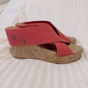 Merona Crisscross Canvas Cork Wedge Sandal Pink
